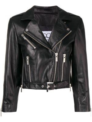 Черная кожаная куртка байкерская Quantum Courage
