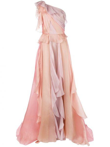 Шелковое розовое вечернее платье на одно плечо Marchesa