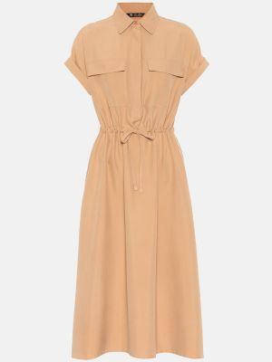 Sukienka midi ciepły z jedwabiu Loro Piana