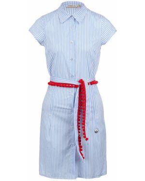 Платье макси в полоску с поясом Met