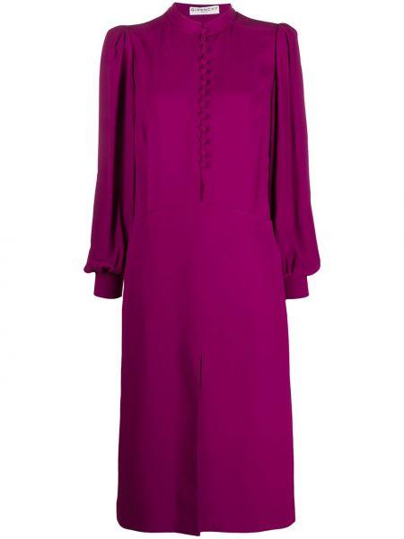 Фиолетовое платье миди на пуговицах с манжетами с вырезом Givenchy