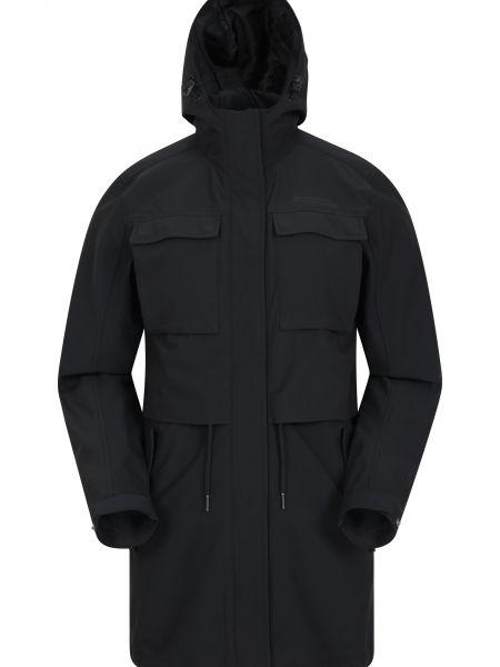 Czarna kurtka przeciwdeszczowa z kapturem Mountain Warehouse
