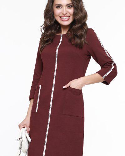 С рукавами трикотажное платье-футляр с вырезом Dstrend