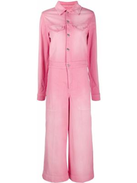Кожаный розовый классический комбинезон на пуговицах Kenzo