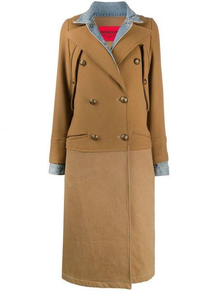 Коричневое кашемировое длинное пальто двубортное Dondup