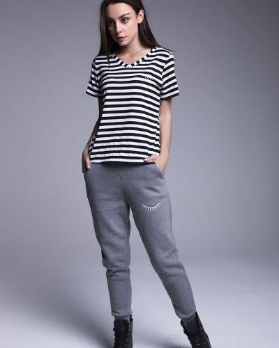 Серые брюки с карманами с открытым носком Naoko