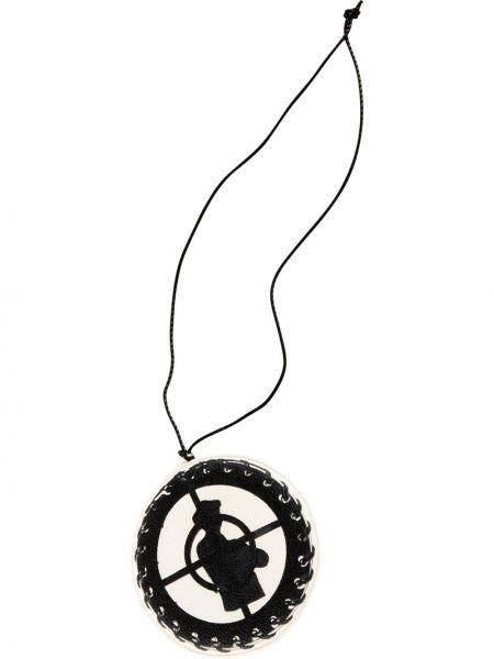 Biały skórzany medalion Supreme