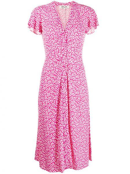 Розовое платье мини с запахом с V-образным вырезом с короткими рукавами Dvf Diane Von Furstenberg