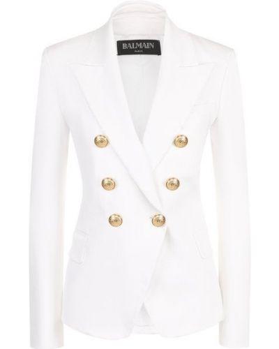 Приталенный белый пиджак двубортный Balmain