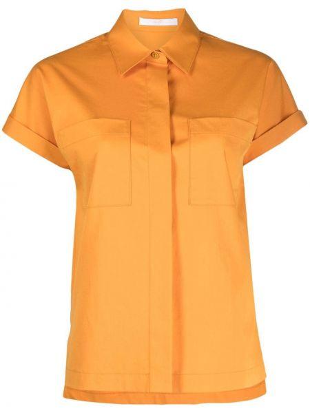 Żółta koszula slim bawełniana krótki rękaw Boss Hugo Boss