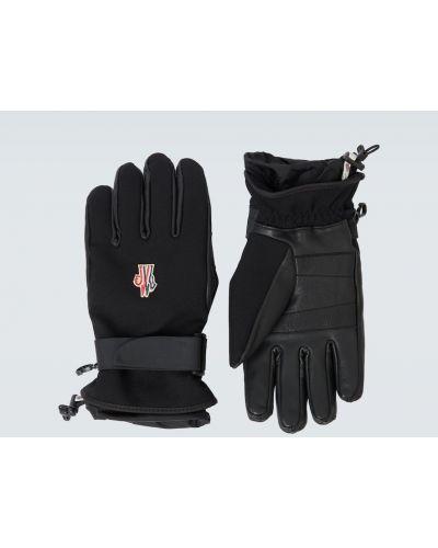 Ciepłe czarne rękawiczki z wiskozy Moncler Grenoble