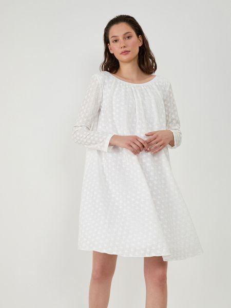 Свободное платье миди с вырезом айвори 12storeez