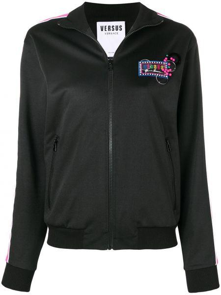 Черная куртка на молнии с манжетами с воротником Versus