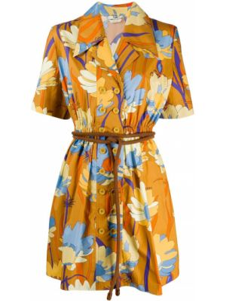 Платье мини на пуговицах с цветочным принтом Fendi