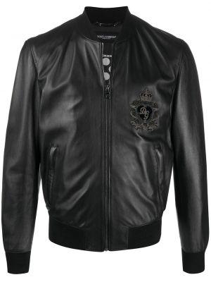Черная куртка с нашивками на молнии с манжетами Dolce & Gabbana