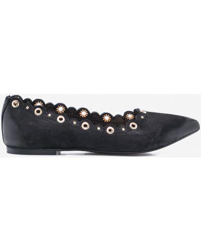 Черные балетки кожаные Carinii