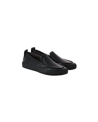 Черные кожаные слипоны Brioni