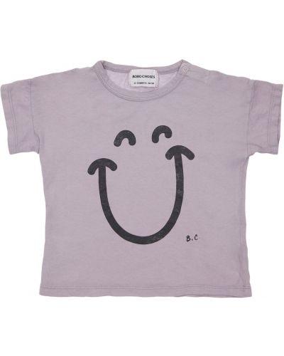 Fioletowy t-shirt bawełniany z printem Bobo Choses