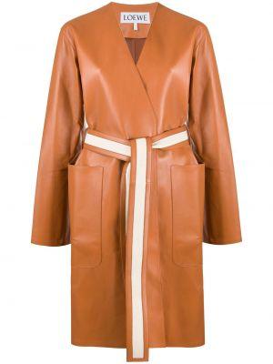 Коричневое кожаное длинное пальто с капюшоном Loewe