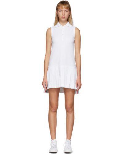 Белое платье без рукавов с воротником Thom Browne