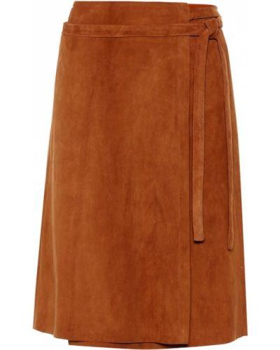 Кожаная юбка с запахом замшевая Stouls
