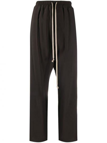 Prosto spodni brązowy spodnie o prostym kroju z wiskozy Rick Owens