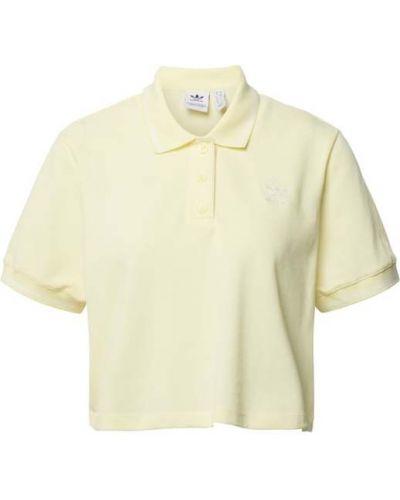 Żółty t-shirt bawełniany w paski Adidas Originals