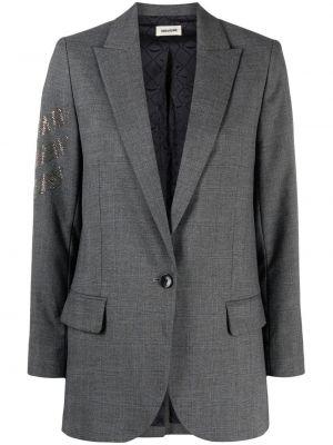 Серый удлиненный пиджак с карманами с воротником Zadig&voltaire
