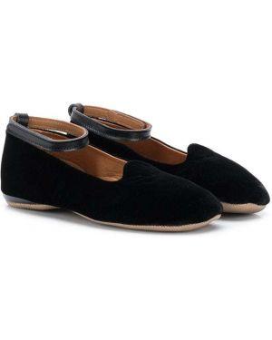Кожаные черные тапочки каскадные на каблуке Pépé Kids
