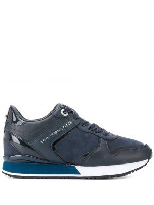 Синие кожаные кроссовки на шнурках Tommy Hilfiger