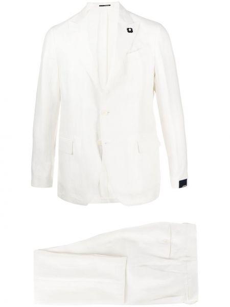 Biały garnitur bawełniany z długimi rękawami Lardini