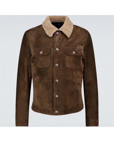 Бежевая теплая кожаная куртка Tom Ford
