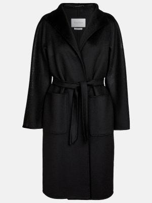 Кашемировое черное пальто классическое Max Mara