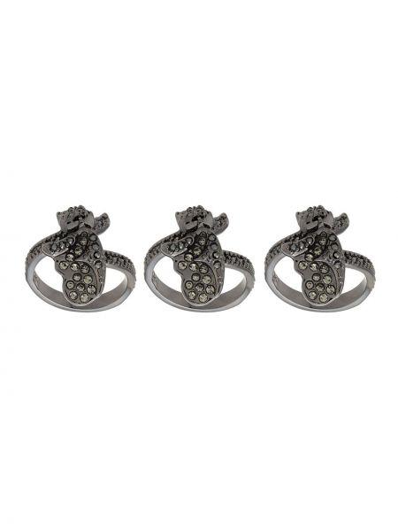 Золотистое серое кольцо металлическое со стразами Camila Klein