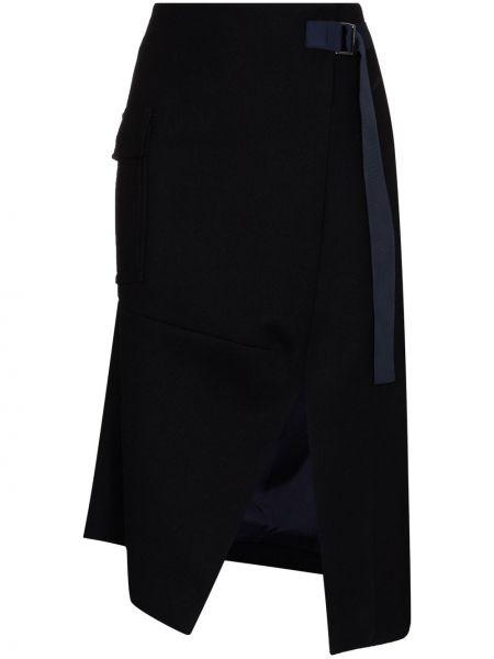 С завышенной талией асимметричная юбка миди на молнии с разрезом Sacai