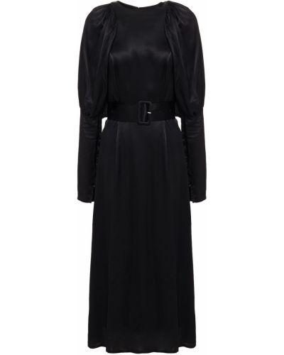 Satynowa czarna sukienka midi z paskiem Rotate Birger Christensen