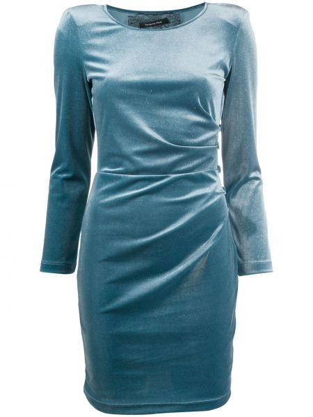 Синее приталенное платье мини круглое с круглым вырезом Patrizia Pepe