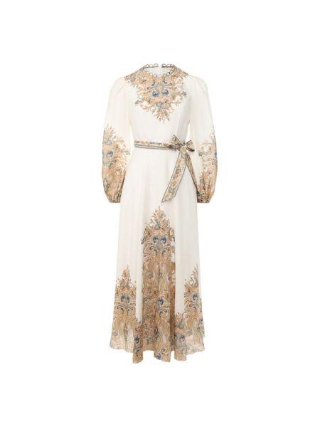 Платье с поясом льняное приталенное Zimmermann