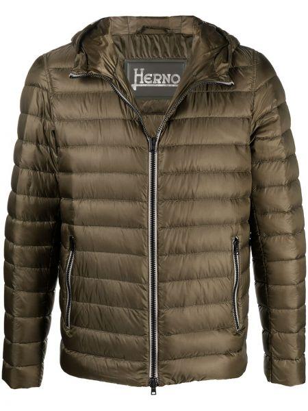 Z rękawami zielony długa kurtka z kapturem Herno
