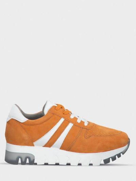 Оранжевые замшевые брендовые кроссовки Tamaris