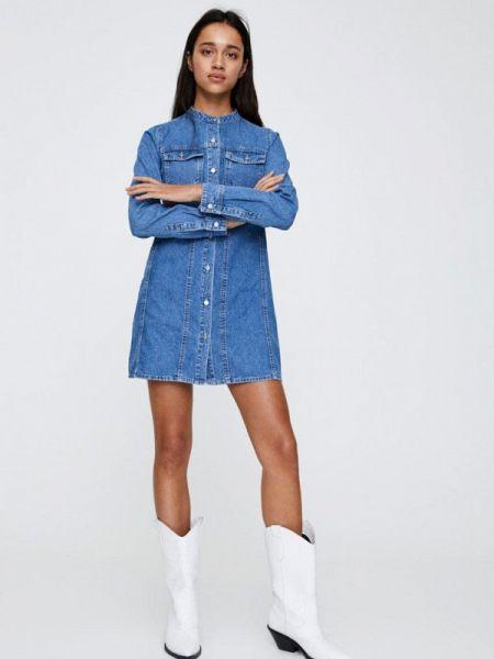 Джинсовое платье осеннее синее Pull&bear