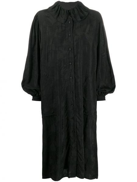 Черное платье миди с длинными рукавами оверсайз Uma Wang