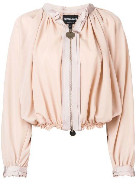 Куртка с поясом с воротником из вискозы Giorgio Armani