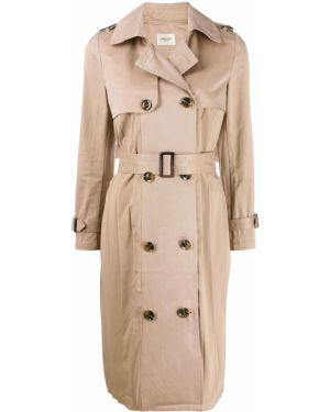 Бежевое длинное пальто с поясом Jovonna