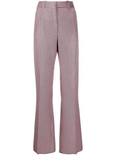Розовые расклешенные брюки с воротником с поясом Mulberry