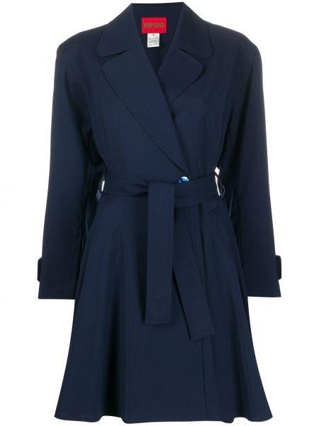 Синее шерстяное длинное пальто с капюшоном Kenzo Pre-owned
