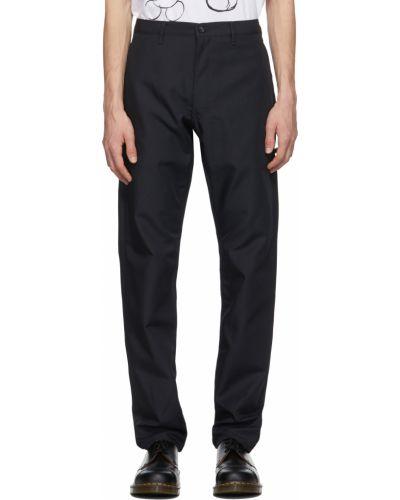 Satynowe czarne spodnie z paskiem Comme Des Garcons Homme Deux