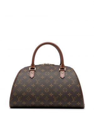 Коричневая кожаная сумка с ручками винтажная Louis Vuitton