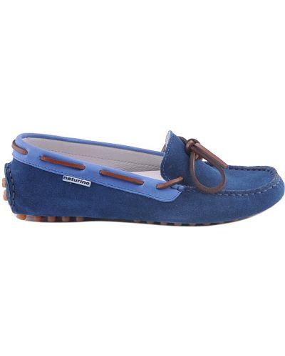 Мокасины замшевые синие Naturino