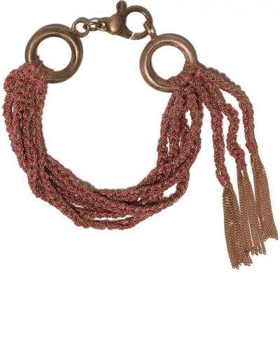 Шелковый розовый золотой браслет Carolina Bucci